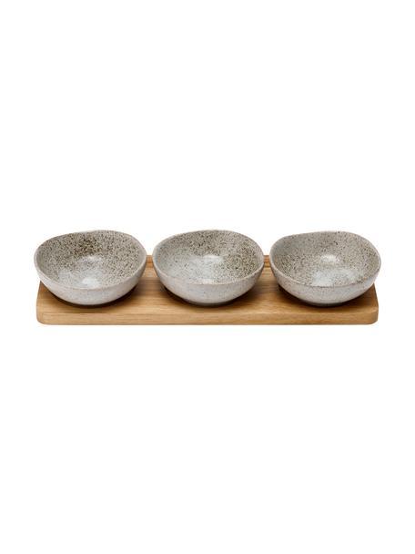 Set de cuencos de porcelana y madera Artisan, 4pzas., Cuencos: porcelana, Bandeja: madera de acacia, Gris, madera de acacia, Set de diferentes tamaños