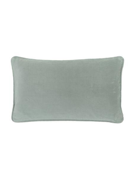 Funda de cojín de terciopelo Dana, 100%terciopelo de algodón, Verde salvia, An 30 x L 50 cm