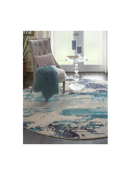 Rond design vloerkleed Celestial in blauw-crèmekleur, Bovenzijde: 100% polypropyleen, Onderzijde: jute, Ivoorkleurig, blauwtinten, Ø 160 cm (maat L)