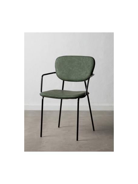 Krzesło tapicerowane ze sztucznej skóry Iskia, Tapicerka: sztuczna skóra (95% polie, Stelaż: płyta wiórowa, Nogi: metal, Zielony, czarny, S 54 x G 55 cm