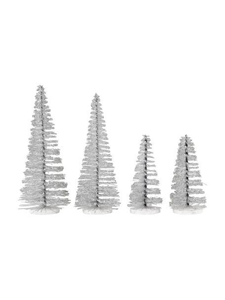 Deko-Bäume Glam, 4 Stück, Kunststoff, Metall, Silberfarben, Sondergrößen