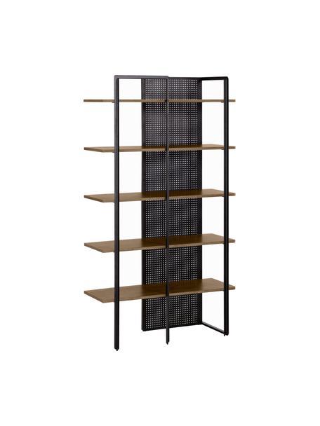 Industriële wandkast Nadyria van hout en metaal, Frame: gelakt metaal, Plank: MDF met walnoothoutfineer, Zwart, lichtbruin, 100 x 180 cm