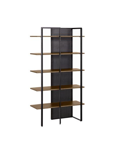 Regał industrial z drewna i metalu Nadyria, Stelaż: metal lakierowany, Czarny, jasny brązowy, S 100 x W 180 cm