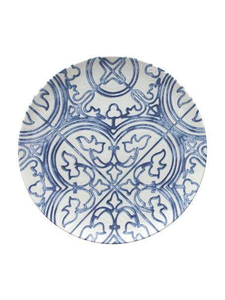 Speiseteller Maiolica aus Porzellan in Weiss/Blau, 2 Stück, Porzellan, Blau, Weiss, Ø 26 cm