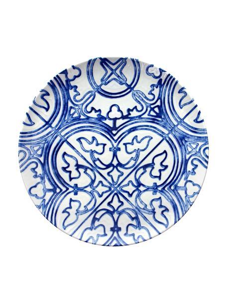 Talerz duży z porcelany Maiolica, 2 szt., Porcelana, Niebieski, biały, Ø 26 cm