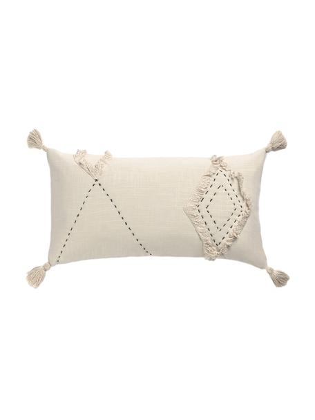 Kissenhülle Lienzo mit Hoch-Tief-Muster, 100% Baumwolle, Gebrochenes Weiss, 30 x 60 cm