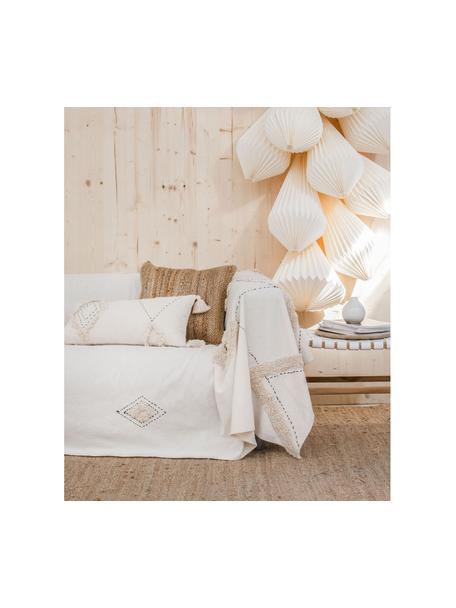 Kussenhoes Lienzo met hoog-laag patroon, 100% katoen, Gebroken wit, 30 x 60 cm