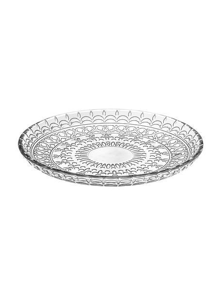 Kristallen dessertbord Fondo, 4 stuks, Luxion kristalglas, Transparant, Ø 21 cm