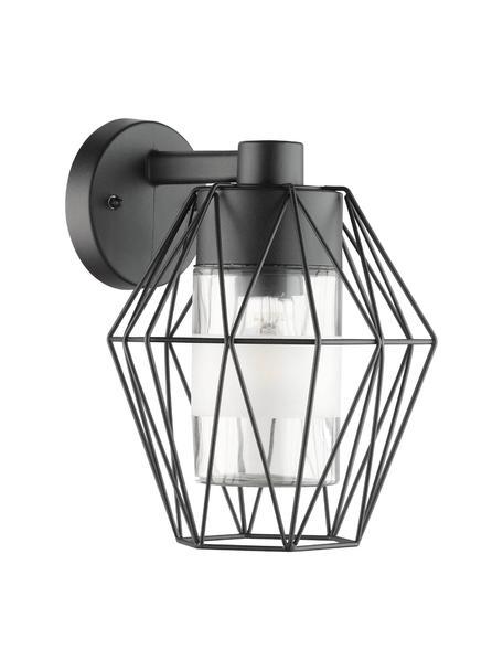 Outdoor wandlamp Canove met glazen lampenkap, Lampenkap: gesatineerd glas, Zwart, 23 x 29 cm