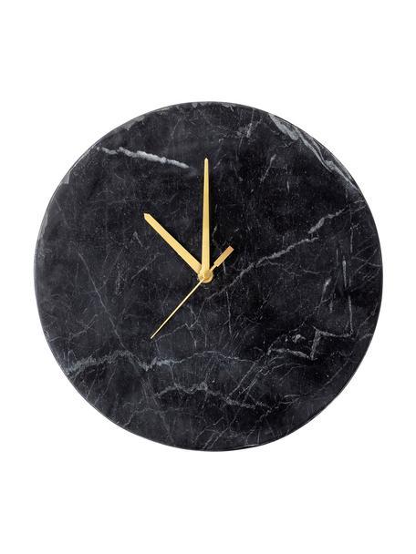 Reloj de pared Brodric, Mármol, Negro, Ø 26 cm