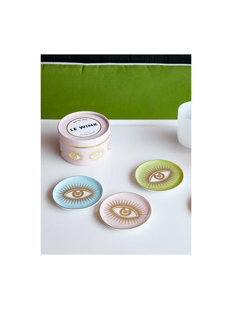 Design onderzettersset Le Wink, 4-delig, Porselein, Multicolour, Ø 10 x H 2 cm