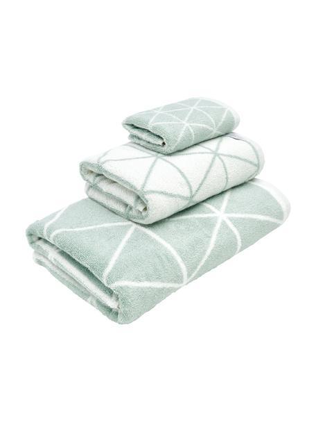 Set 3 asciugamani reversibili Elina, Verde menta, bianco crema, Set in varie misure