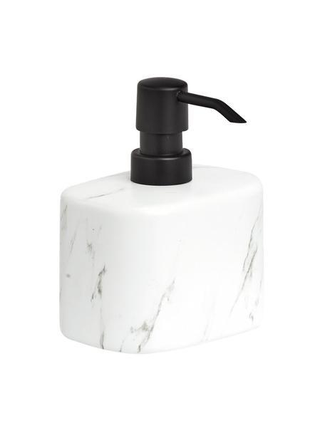 Dosatore di sapone in ceramica effetto marmo Marble, Contenitore: ceramica, Testa della pompa: materiale sintetico (ABS), Bianco, Larg. 11 x Alt. 13 cm