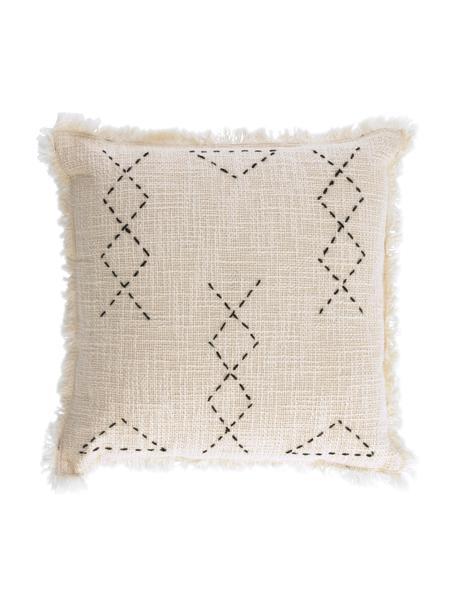Geborduurde boho kussenhoes Seila met franjes, 100% katoen, Beige, 45 x 45 cm