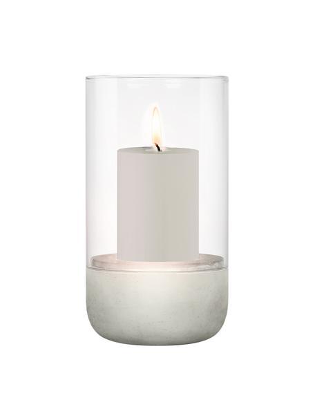 Windlicht Calma, Windlicht: Glas, Sockel: Beton, Grau, Transparent, Ø 15 x H 23 cm