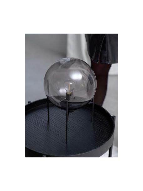Lampada da tavolo in vetro Alton, Paralume: vetro, Struttura: metallo rivestito, Nero, grigio trasparente, Ø 20 x Alt. 29 cm