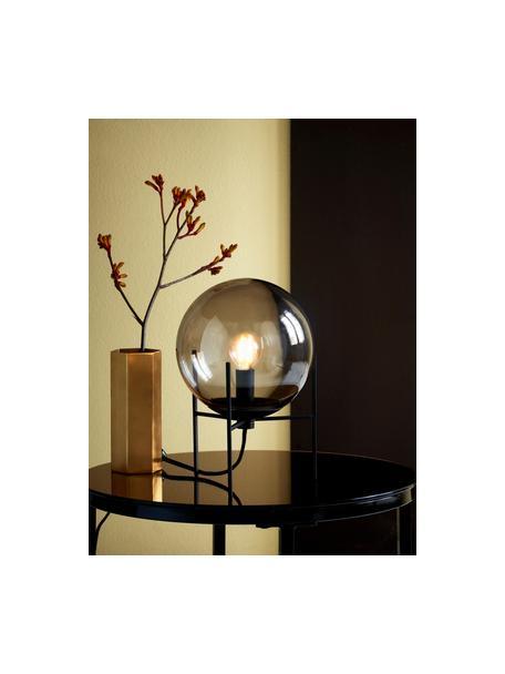 Lámpara de mesa pequeña Alton, estilo industrial, Pantalla: vidrio, Estructura: metal recubierto, Cable: plástico, Negro, gris, transparente, Ø 20 x Al 29 cm
