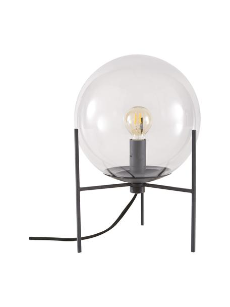 Lámpara de mesa pequeña de vidrio Alton, Pantalla: vidrio, Estructura: metal recubierto, Cable: plástico, Negro, gris transparente, Ø 20 x Al 29 cm