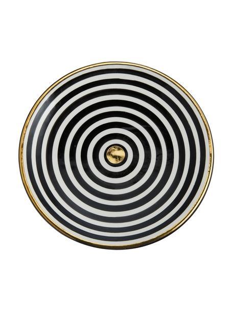 Plato postre artesanal Assiette, estilo marroquí, Cerámica, Negro, crema, oro, Ø 20 cm
