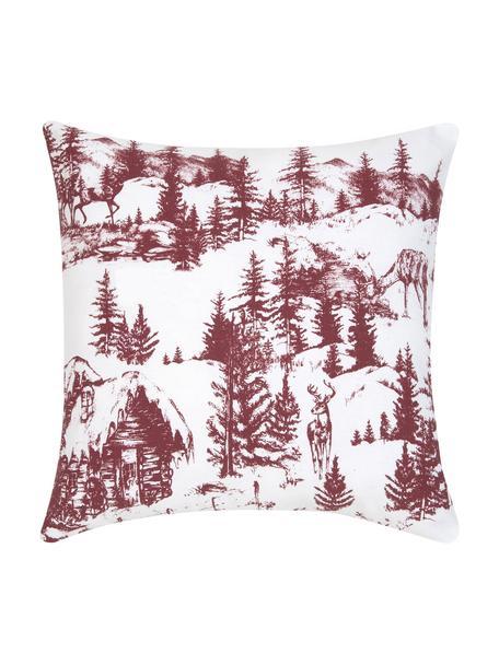 Kussenhoes Nordic met winters motief in rood/wit, 100% katoen, Wit, rood, 40 x 40 cm