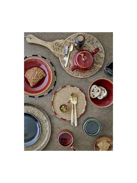 Runde Servierplatte Manu aus Mangoholz mit Schnitzerei, Ø 28 cm, Mangoholz, Beige, 28 x 49 cm