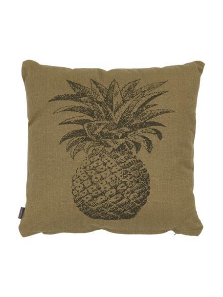 Federa arredo con motivo ananas Pineapple, 100% cotone, Kaki, grigio, Larg. 45 x Lung. 45 cm