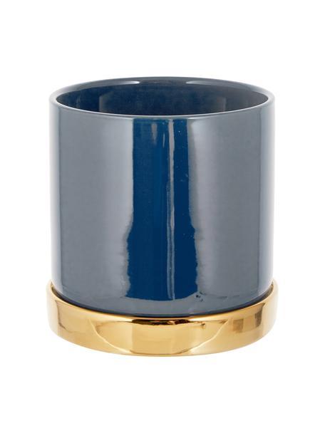 Portavaso rotondo in gres Elin, Gres, Recipiente: blu Sottobicchiere: dorato, Ø 14 x Alt. 14 cm