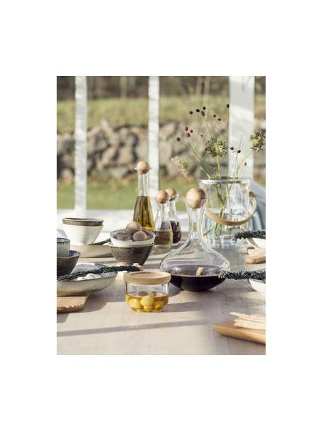 Mundgeblasener Dekanter Eden mit Holzdeckel, 2 L, Verschluss: Eichenholz, Transparent, Eichenholz, H 27 cm