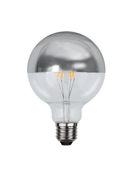 E27 Leuchtmittel, 2.8W, dimmbar, warmweiß, 1 Stück, Leuchtmittelschirm: Glas, Leuchtmittelfassung: Aluminium, Silberfarben, Transparent, Ø 10 x H 14 cm