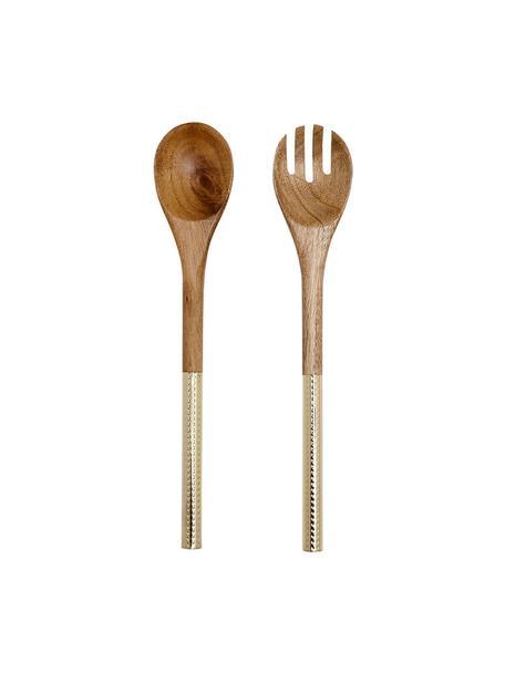 Set 2 posate da insalata in legno di acacia Oasis, Posate: legno d'acacia, Ottonato, legno d'acacia, Lung. 37 cm