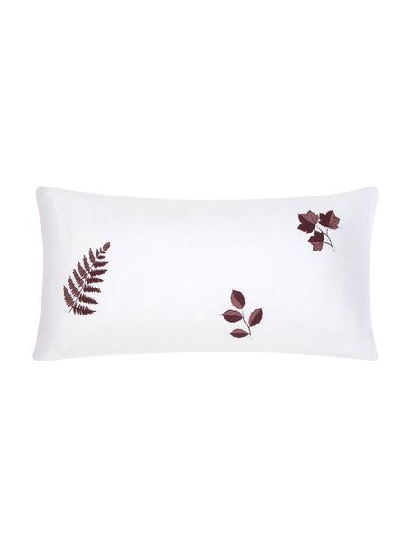 Flanell-Kissenbezüge Fraser mit winterlichem Blattmuster, 2 Stück, Webart: Flanell, Bordeaux, Weiß, 40 x 80 cm