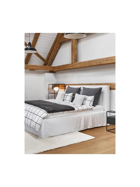 Łóżko tapicerowane z miejscem do przechowywania Feather, Korpus: lite drewno sosnowe, mate, Tapicerka: poliester (tkanina strukt, Kremowobiały, S 140 x D 200 cm