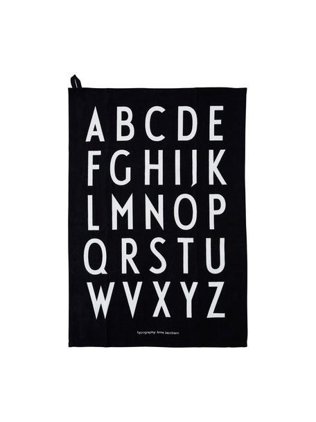 Katoenen theedoeken Classic in zwart met design letters, 2 stuks, Katoen, Zwart, 40 x 60 cm