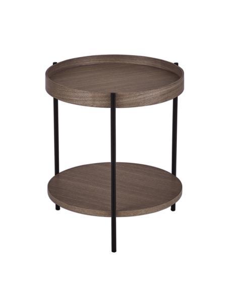 Tavolino rotondo in legno con finitura di noce Renee, Ripiani: pannello di fibra a media, Struttura: metallo verniciato a polv, Legno di noce, Ø 44 x Alt. 49 cm