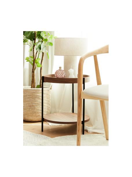 Mesa auxiliar de madera Renee, Tablero: tablero de fibras de dens, Estructura: metal con pintura en polv, Nogal, Ø 44 x Al 49 cm