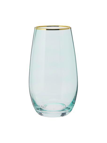 Hohe Gläser Chloe in Blau mit Goldrand, 4 Stück, Glas, Hellblau, Ø 9 x H 16 cm