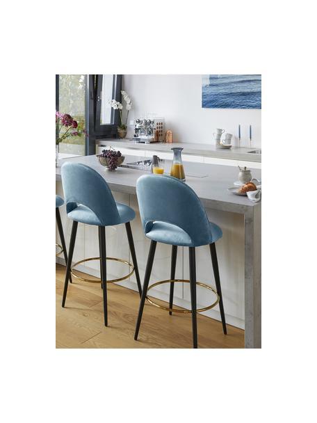 Krzesło barowe z aksamitu Rachel, Tapicerka: aksamit (poliester) 5000, Nogi: metal malowany proszkowo, Aksamitny jasny niebieski, S 48 x W 110 cm