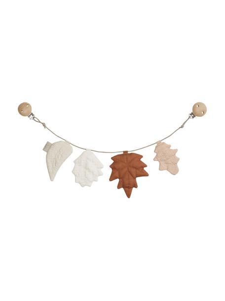 Catena per carrozzina in cotone biologico Leaves, 100% cotone biologico, Marrone, tonalità beige, Lung. 50 x Alt. 16 cm
