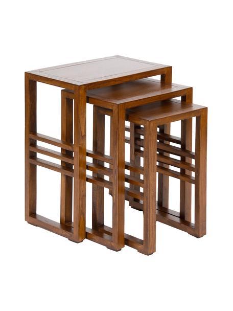 Komplet stolików pomocniczych z drewna Nest, 3 elem., Drewno mindi, Brązowy, Komplet z różnymi rozmiarami