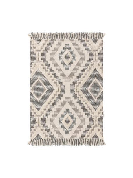 Dywan w stylu boho z wełny z frędzlami Wanda, 70% wełna, 30% akryl Włókna dywanów wełnianych mogą nieznacznie rozluźniać się w pierwszych tygodniach użytkowania, co ustępuje po pewnym czasie, Ciemny szary, szary, kremowy, S 80 x D 120 cm (Rozmiar XS)