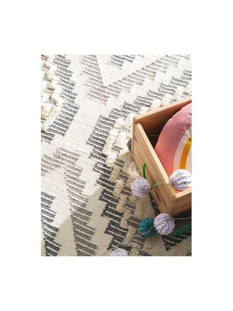 Boho wollen vloerkleed Wanda met hoog-laag structuur en franjes, 70% wol, 30% polyester Bij wollen vloerkleden kunnen vezels loskomen in de eerste weken van gebruik, dit neemt af door dagelijks gebruik en pluizen wordt verminderd., Donkergrijs, grijs, crèmekleurig, B 80 x L 120 cm (maat XS)