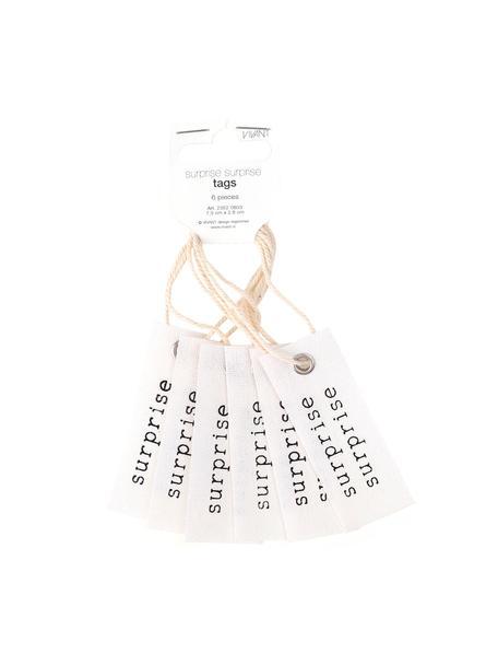 Etiquetas para regalo Surprise, 6uds., 65%algodón, 35%lino, Crema, negro, An 3 x Al 8 cm