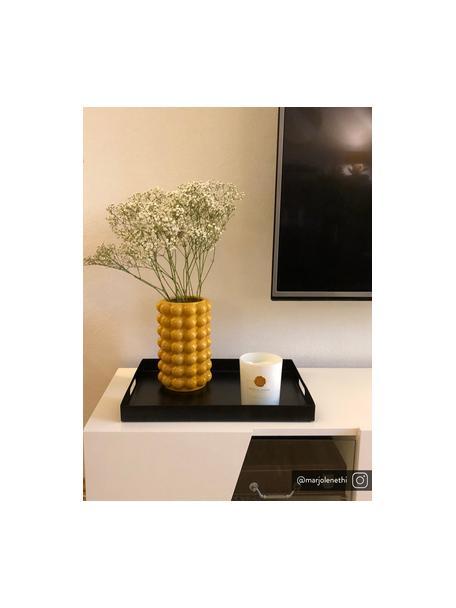 Dienblad Satu in zwart, B 30 x L 40 cm, Gelakt metaal, Zwart, 30 x 40 cm