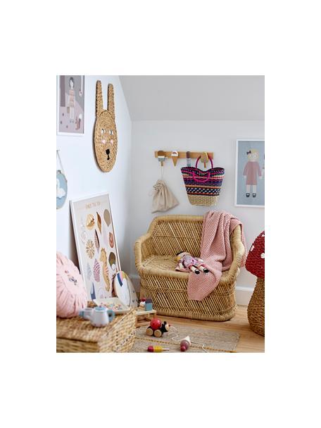Wandobject Sulo, Rotan, Beige, roze, wit, zwart, 35 x 52 cm