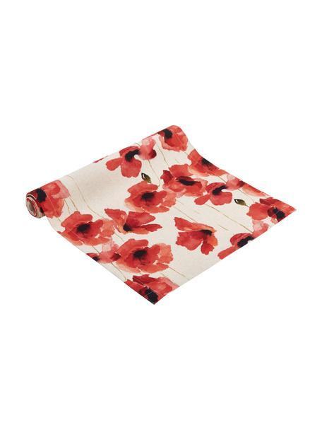 Tafelloper Popy met klaprozen, 85% linnen, 15% katoen, Beige, rood, zwart, 40 x 145 cm
