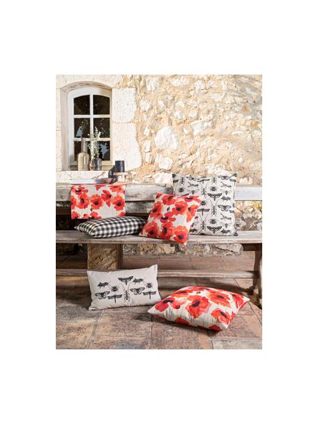 Tischläufer Popy mit Mohnblumen, 85% Baumwolle, 15% Leinen, Beige, Rot, Schwarz, 40 x 145 cm