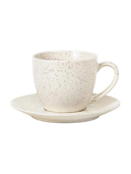 Ręcznie wykonana filiżanka do espresso ze spodkiem z kamionki Nordic Vanilla, Kamionka, Wanilia, Ø 8 x W 7 cm