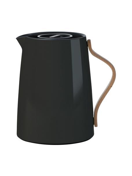 Teiera in nero lucido Emma, 1 L, Rivestimento: smalto, Manico: legno di faggio, Nero, 1 L