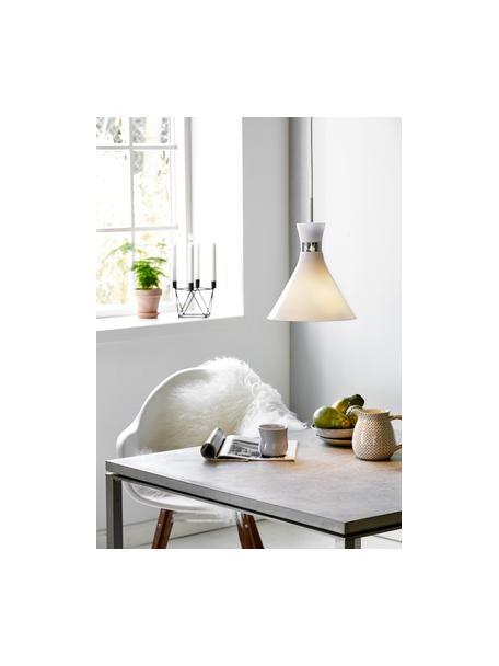 Kleine Pendelleuchte Trumpet aus Glas, Lampenschirm: Glas, Dekor: Metall, verchromt, Baldachin: Kunststoff, Weiß, Chrom, Ø 26 x H 35 cm
