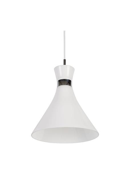 Lámpara de techo pequeña de vidrio Trumpet, Pantalla: vidrio, Anclaje: plástico, Cable: cubierto en tela, Blanco, cromo, Ø 26 x Al 35 cm